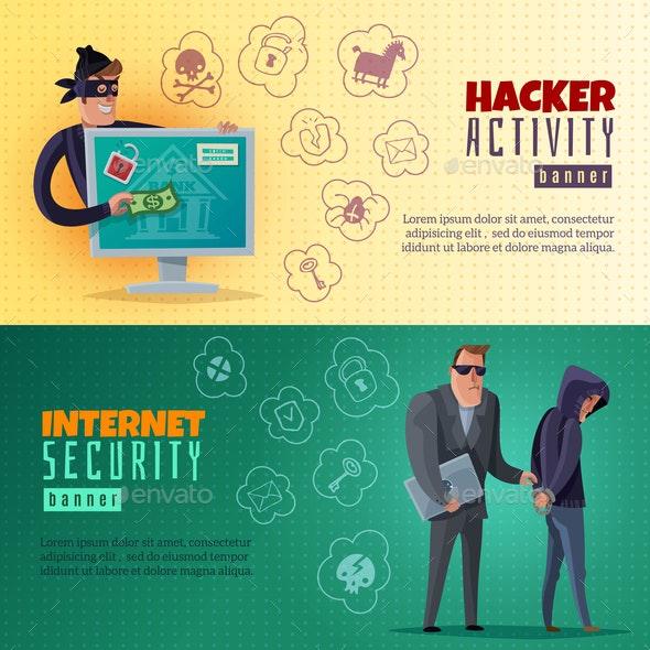 Hacker Cartoon Horizontal Banners - People Characters