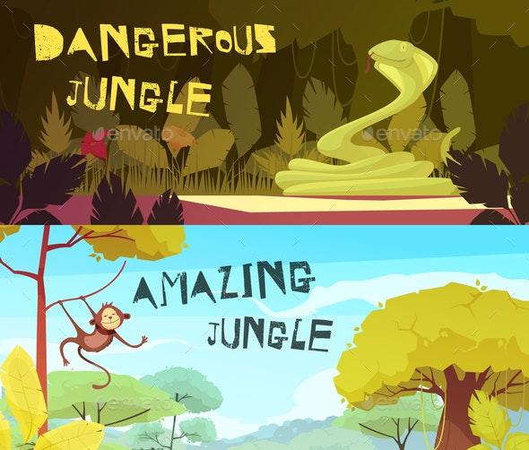 Jungle Horizontal Cartoon Banners - Animals Characters