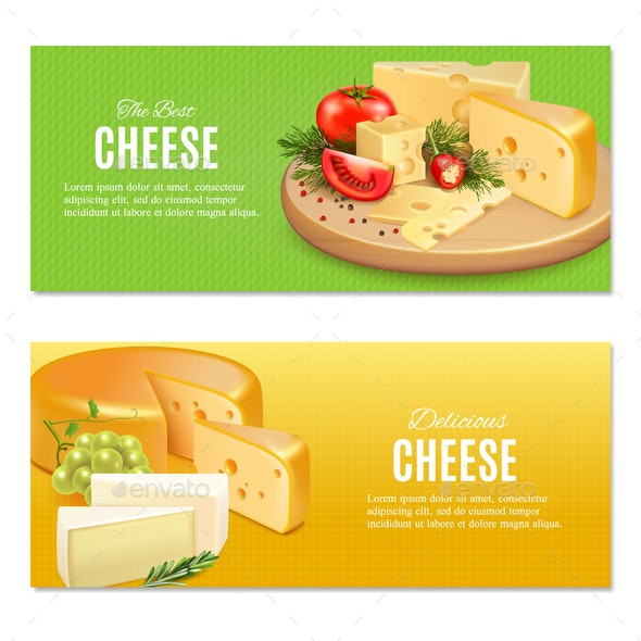Realistic Cheeses Horizontal Banners - Food Objects