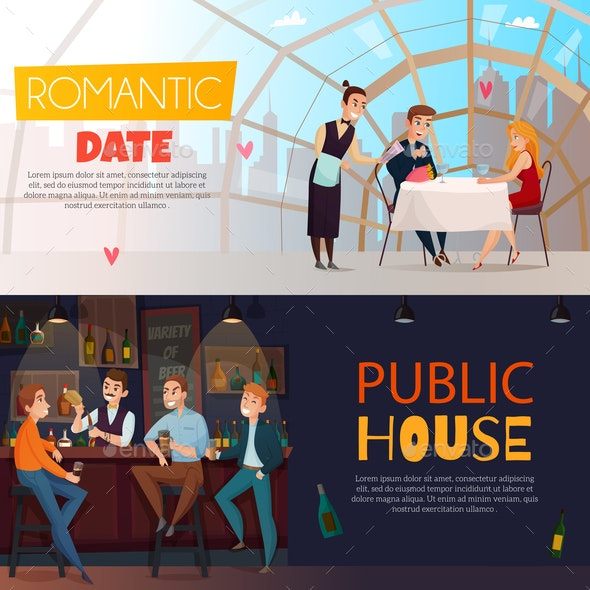 Restaurant Pub Visitors Horizontal Banner Set - People Characters