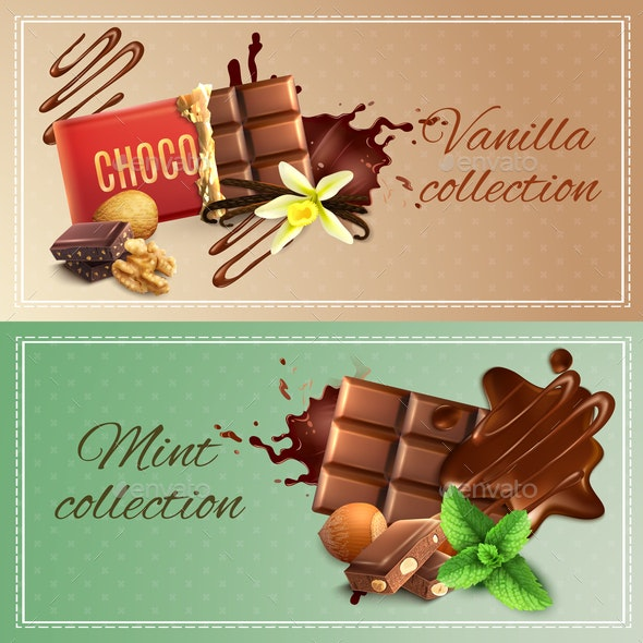Realistic Chocolate Banners - Food Objects
