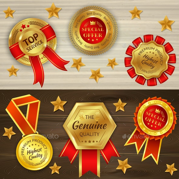 Awards Realistic Horizontal Banners - Backgrounds Decorative