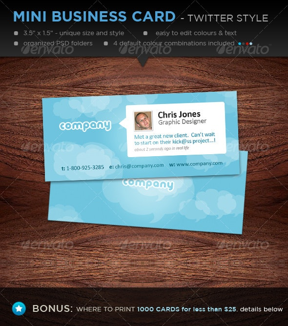 Mini Designer Business Cards - Twitter Style - Creative Business Cards