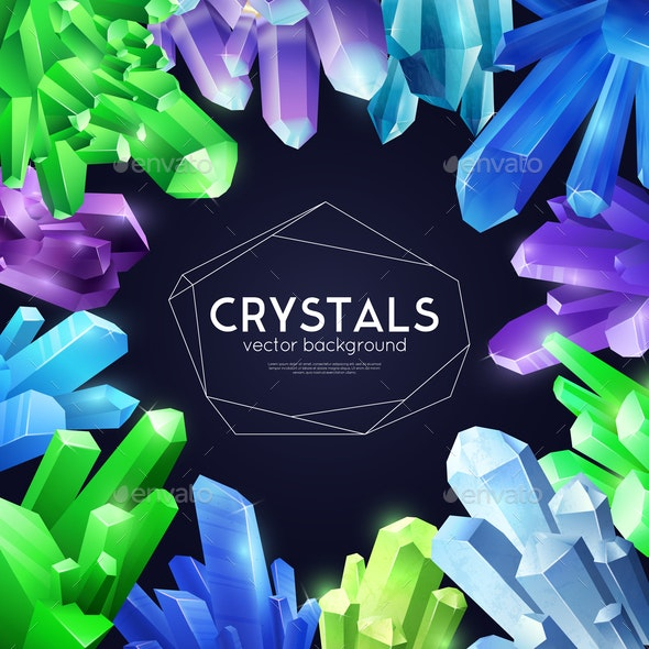 Crystals Colorful Realistic Background - Patterns Decorative