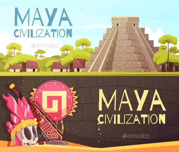 Maya Cartoon Banners Set - Buildings Objects