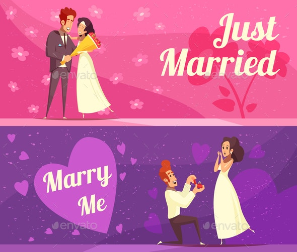 Newlyweds Cartoon Banners - Weddings Seasons/Holidays