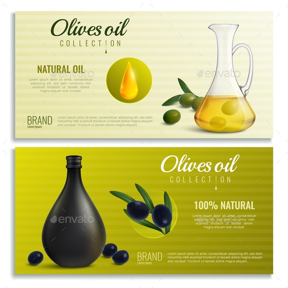 Realistic Olives Oil Banners - Food Objects