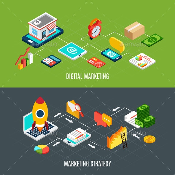 Digital Marketing Banners Set - Concepts Business