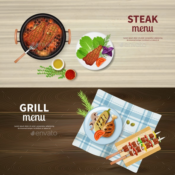 BBQ Banners Set - Food Objects
