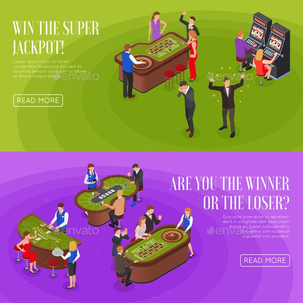 Casino Isometric Banners - Backgrounds Decorative