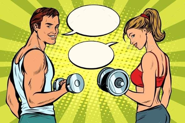 Man and Woman in the Gym with Dumbbells - Sports/Activity Conceptual