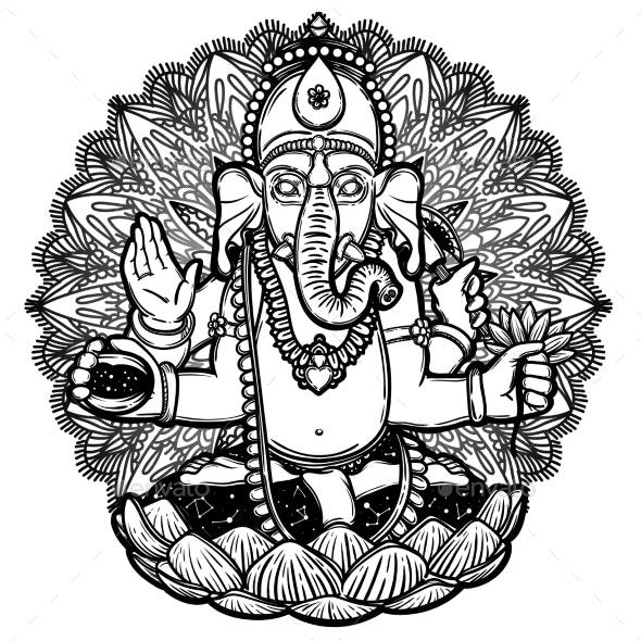Vector Illustration of Ganesha Hindu God Elephant - Religion Conceptual