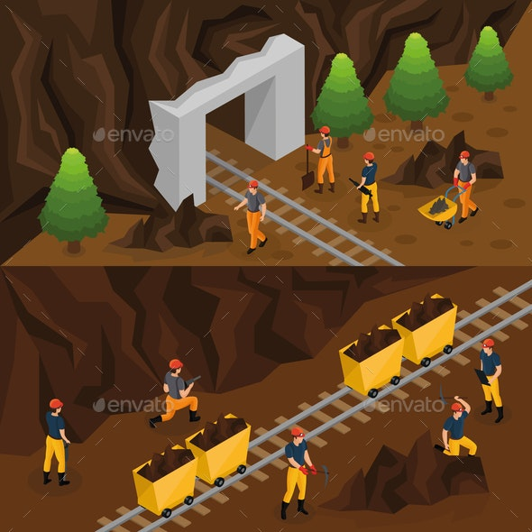 Isometric Coal Extraction Industry Horizontal Banners - Industries Business