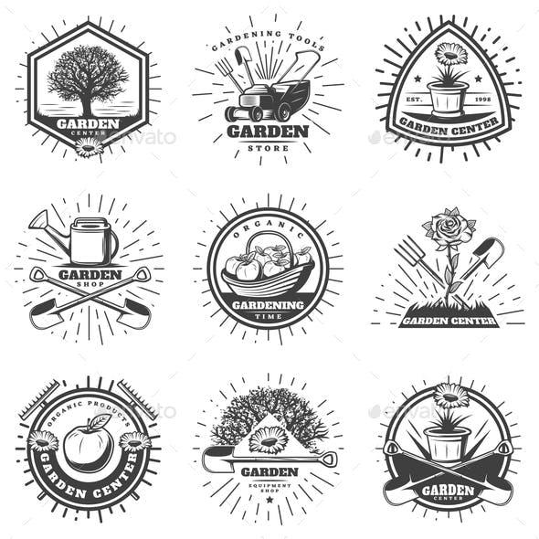 Vintage Monochrome Gardening Logos Set
