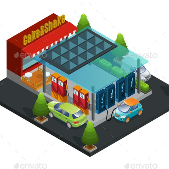 Isometric Gas and Charger Station Template