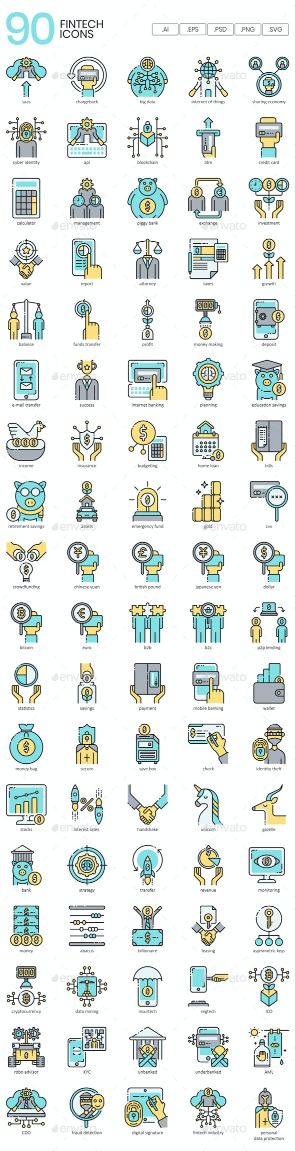 Fintech Icons - Technology Icons