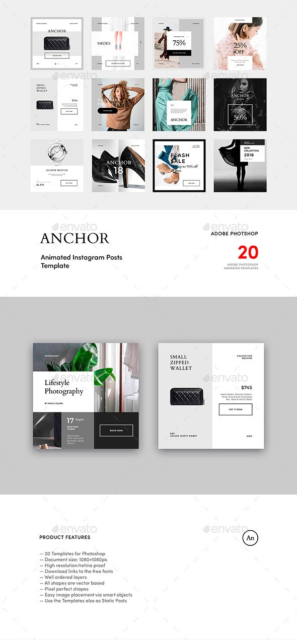 Anchor — Animated Instagram Post Templates - Social Media Web Elements