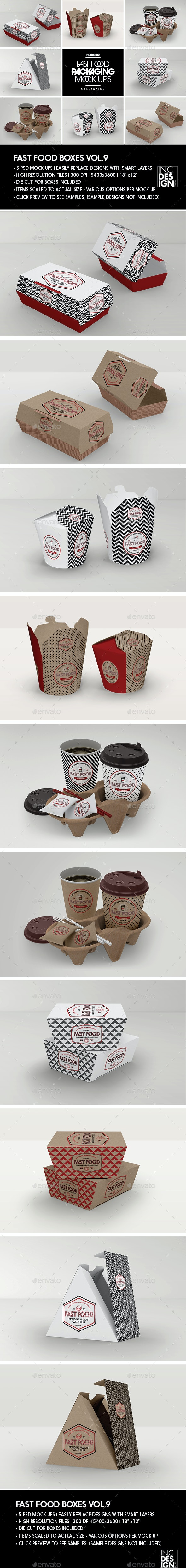 Fast Food Boxes Vol.9: Take Out Packaging Mock Ups - Food and Drink Packaging