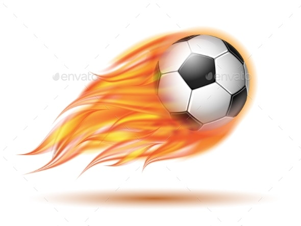 Flying Football or Soccer Ball on Fire - Miscellaneous Vectors