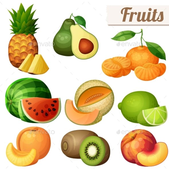 Set of Fruits Icons Isolated on White Background
