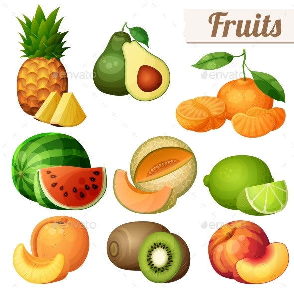 Set of Fruits Icons Isolated on White Background - Food Objects