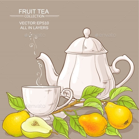 Pear Tea Vector Illustration
