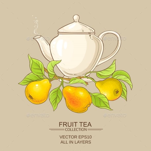 Pear Tea Vector Illustration