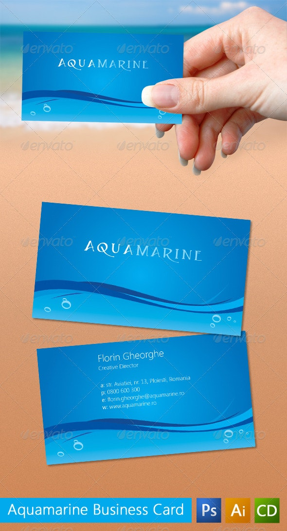 Aquamarine Business Card - Corporate Business Cards