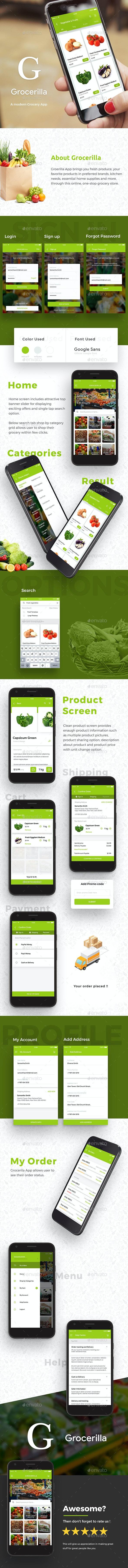 Grocery App UI Kit  |  Grocerilla - User Interfaces Web Elements