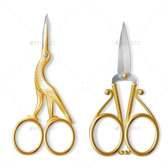 Vector Realistic Two Pairs of Nail Scissors