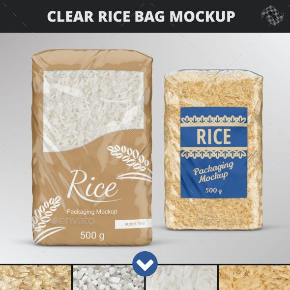 Clear Rice Cereals Bag Mockup