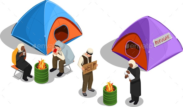 Refugee Camp Isometric Composition - People Characters