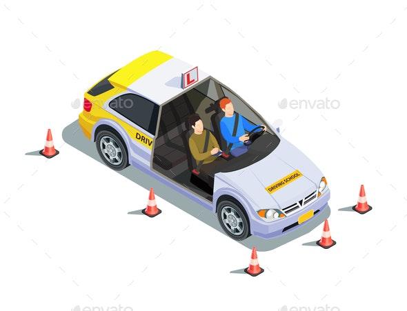 Instructor Car Isometric Composition - Miscellaneous Vectors