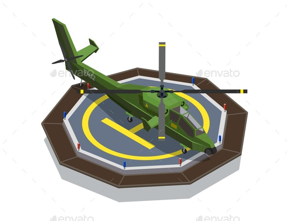 Helicopter Pad Isometric Composition - Man-made Objects Objects