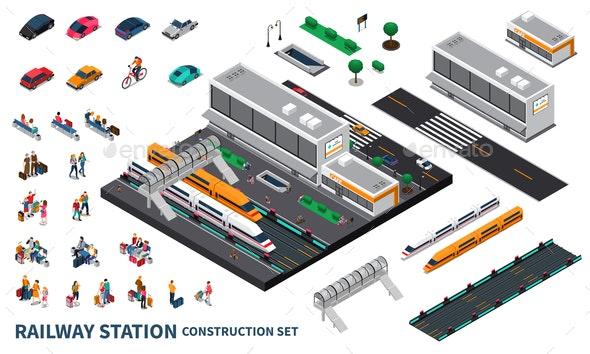 Railway Station Isometric Constructor - Miscellaneous Vectors