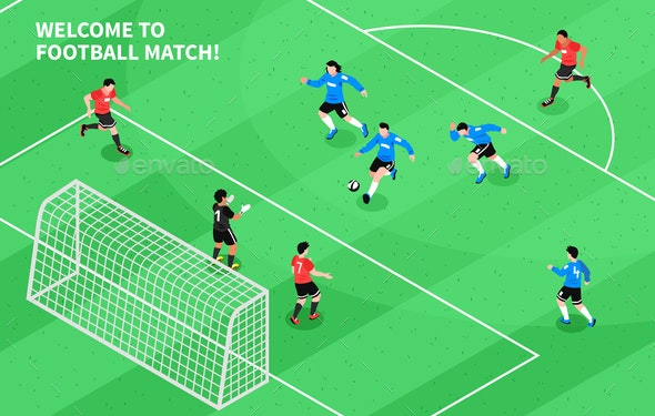 Sport Football Soccer Isometric - Sports/Activity Conceptual