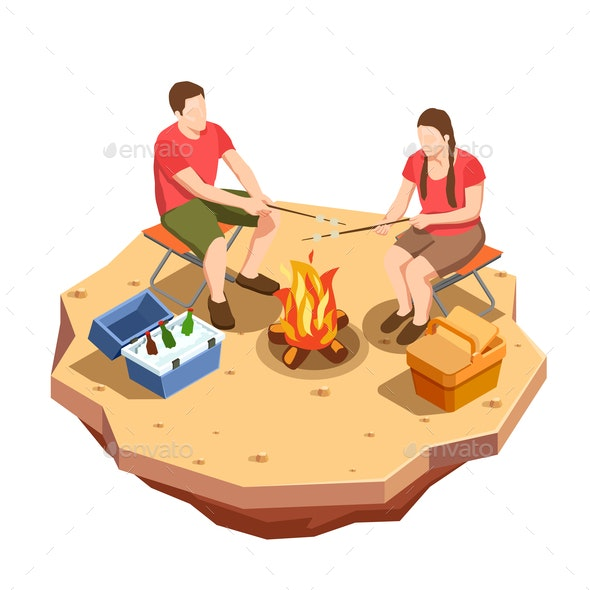 Campfire Outing Isometric Composition - People Characters