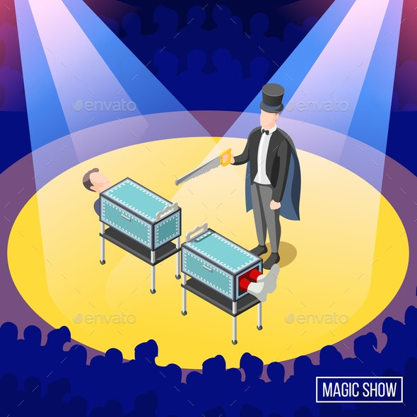 Magic Trick Isometric Background - People Characters