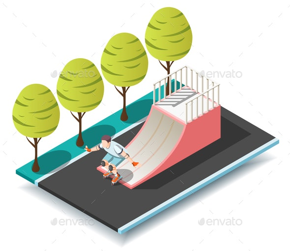 Sports Ramp for Roller and Skateboarders - People Characters