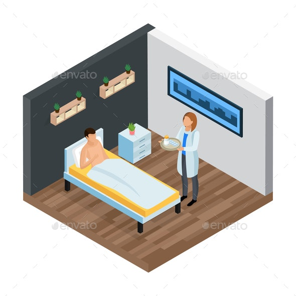 Probiotic Clinic Isometric Composition - Health/Medicine Conceptual