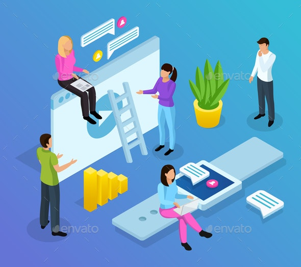 Interface Office Isometric Composition - People Characters