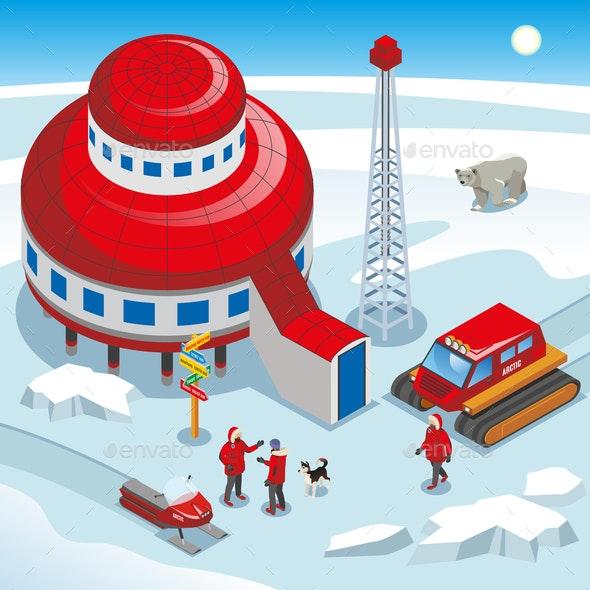 Arctic Polar Station Isometric Illustration - Buildings Objects