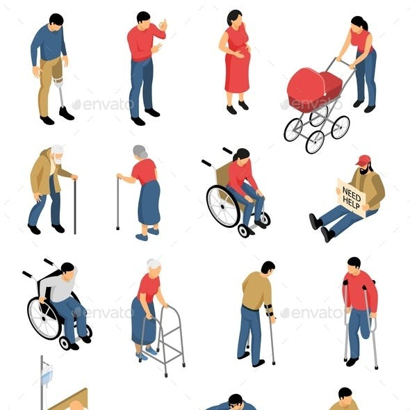 Disabled People Isometric Icons