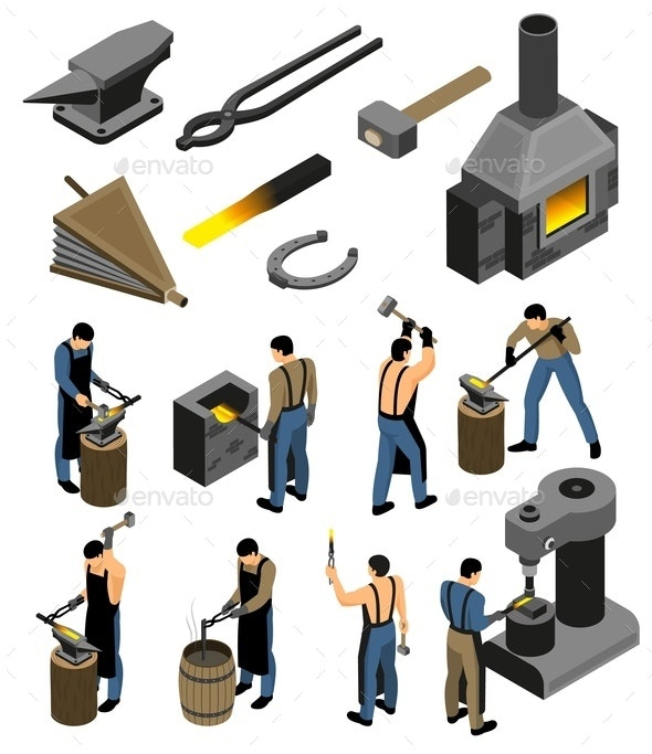 Iron Forger Icon Set - Industries Business