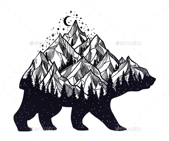 Bear and Night Forest Mountain Landscape, Double - Animals Characters