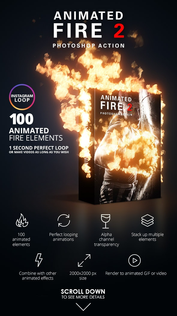 Animated Fire 2 Photoshop action on GraphicRiver - create animated fire in Photoshop by placing over 100 fire animated effects using the built in action