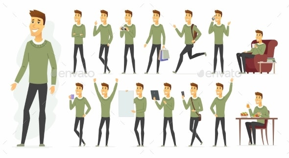 Cute Man - Vector Cartoon People Character Set - People Characters