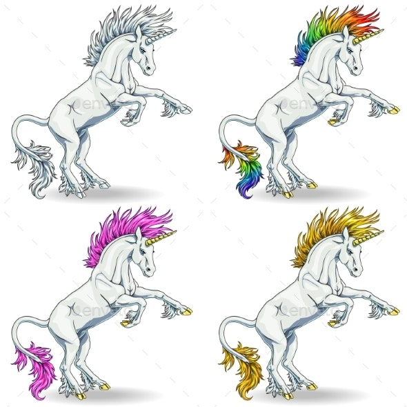Set of White Unicorns - Animals Characters