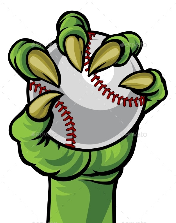 Claw Monster Hand Holding a Baseball Ball - Sports/Activity Conceptual