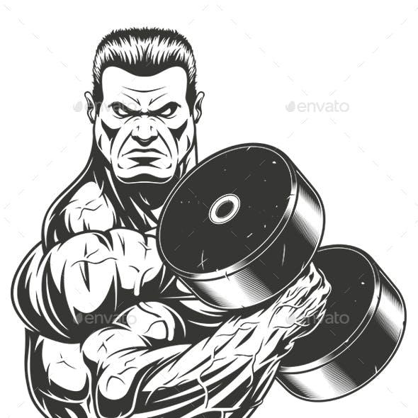 Bodybuilder with Dumbbell